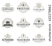 luxury monogram logos templates ... | Shutterstock .eps vector #632278862