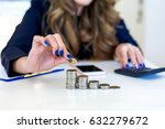 saving money concept by woman... | Shutterstock . vector #632279672