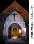 Front Of Church At Night With...