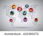 vector wireframe mesh polygonal ... | Shutterstock .eps vector #632283272