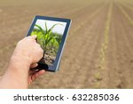 smart agriculture. farmer using ... | Shutterstock . vector #632285036