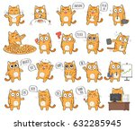 Stock photo set of cute cat character with different emotions isolated on white background 632285945
