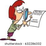 cartoon woman examining the... | Shutterstock .eps vector #632286332