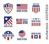 vector set of made in the usa... | Shutterstock .eps vector #632293316