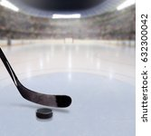 hockey stick and puck on ice in ...   Shutterstock . vector #632300042