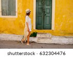 young beauty tourist woman goes ... | Shutterstock . vector #632304476