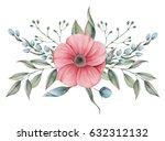 hand painted watercolor... | Shutterstock . vector #632312132
