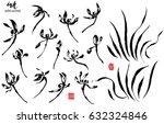 hand drawn black ink wild... | Shutterstock .eps vector #632324846