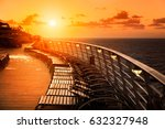 Cruise Ship Upper Deck At Sunset