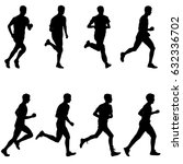 set of silhouettes runners on... | Shutterstock . vector #632336702