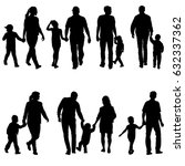 set silhouette of happy family... | Shutterstock . vector #632337362