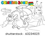 coloring book with big dragon 3 ... | Shutterstock .eps vector #63234025