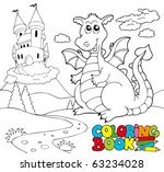 coloring book with big dragon 2 ... | Shutterstock .eps vector #63234028