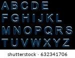 alphabet neon printed | Shutterstock . vector #632341706