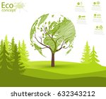 green globe on the tree. tree... | Shutterstock .eps vector #632343212