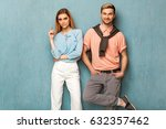 fashion girl and guy in outlet... | Shutterstock . vector #632357462