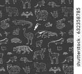 animals of south america vector ... | Shutterstock .eps vector #632358785