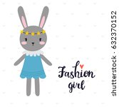 fashion girl. cute little bunny.... | Shutterstock .eps vector #632370152