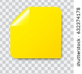 yellow stick note isolated on... | Shutterstock .eps vector #632374178