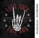 rock graphic for t shirt | Shutterstock . vector #632386466