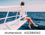 young woman sitting on the ship ... | Shutterstock . vector #632386562