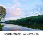wonderful sunset over the lake. ... | Shutterstock . vector #632396846