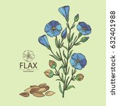 background with flax  flower ...   Shutterstock .eps vector #632401988