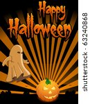 happy halloween card with... | Shutterstock .eps vector #63240868