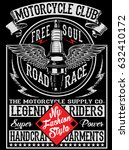 motorcycle label t shirt design | Shutterstock .eps vector #632410172