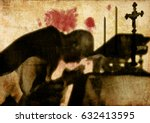 Silhouette shadow of a priest celebrating mass, with blood stains on the wall. Abstract concept of martyrs, persecuted christians, Church and clergy.