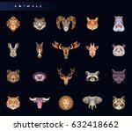 set of animal icons. abstract...   Shutterstock .eps vector #632418662