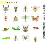 set of insects icons. abstract... | Shutterstock .eps vector #632419136