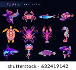 set of fish icons. abstract... | Shutterstock .eps vector #632419142