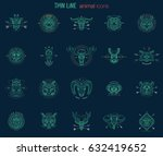 set of animal icons. abstract... | Shutterstock .eps vector #632419652