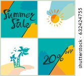 summer sale.20 . bright squares ... | Shutterstock .eps vector #632424755