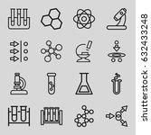 scientific icons set. set of 16 ... | Shutterstock .eps vector #632433248