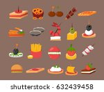 various meat fish cheese... | Shutterstock .eps vector #632439458
