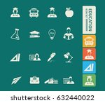 education icon set clean vector | Shutterstock .eps vector #632440022