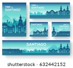 set of santiago landscape... | Shutterstock .eps vector #632442152