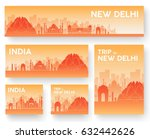 set of india landscape country... | Shutterstock .eps vector #632442626