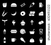 fast food icons on black... | Shutterstock .eps vector #632451122