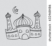 mosque illustration.... | Shutterstock .eps vector #632468486