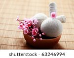 two massage stamps with bowl of ... | Shutterstock . vector #63246994