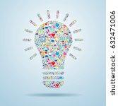 light bulb with social media... | Shutterstock .eps vector #632471006