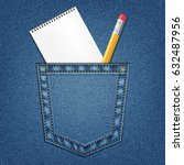 jeans pocket with pencil and... | Shutterstock .eps vector #632487956