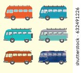 set of retro minibuses | Shutterstock .eps vector #632491226