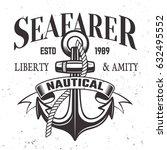 sailor vintage label  emblem or ... | Shutterstock .eps vector #632495552