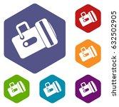 flashlight icons set hexagon... | Shutterstock .eps vector #632502905