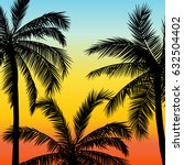 card with realistic palm trees... | Shutterstock .eps vector #632504402
