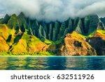 Na Pali coast, Kauai, Hawaii view from sea sunset cruise tour. Nature coastline landscape in Kauai island, Hawaii, USA. Hawaii travel.
